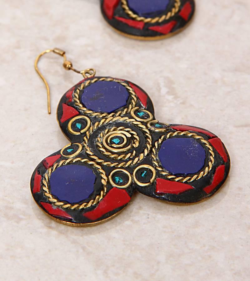 Red Blue Stone : Buy red amoeba blue stone lake earrings online