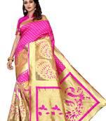 Buy Pink woven banarasi art silk saree with blouse