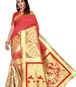 Buy Red banarasi art silk saree with blouse