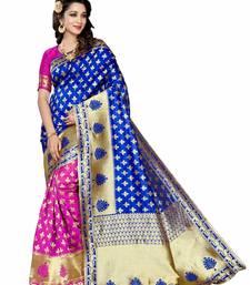 Buy Blue woven banarasi art silk saree with blouse diwali-sarees-collection online