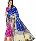 Buy Blue woven banarasi art silk saree with blouse