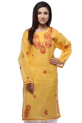 Yellow embroidered cotton stithced kurti