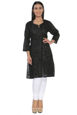 Black embroidered cotton stithced kurti