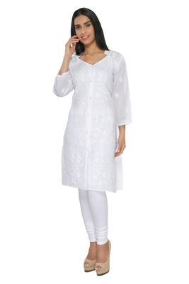 Buy White Embroidered Cotton Stithced Kurti Online