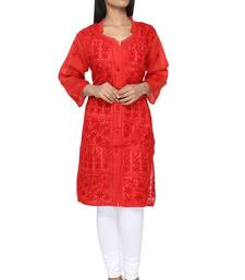 Red embroidered cotton stithced kurti