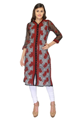 Black embroidered georgette stithced kurti