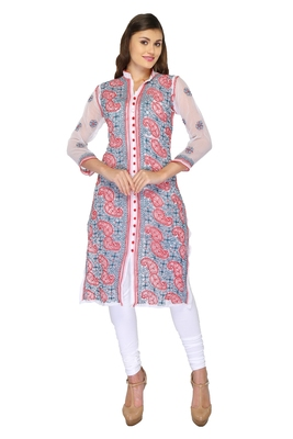 White embroidered georgette stithced kurti