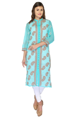 Sea green embroidered georgette stithced kurti