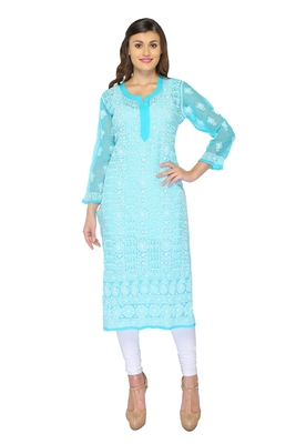 Light blue embroidered georgette stithced kurti