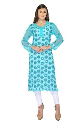 Light blue embroidered georgette stithced kurti