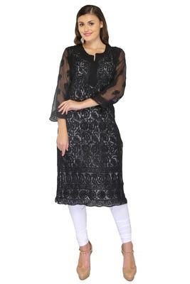 Black embroidered georgette stithced kurti