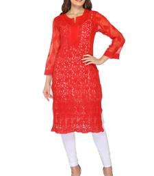 Red embroidered georgette stithced kurti
