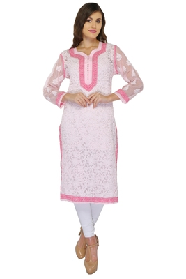 Pink embroidered georgette stithced kurti