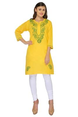 Lemon embroidered cotton stithced kurti