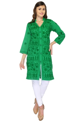 Dark green embroidered cotton stithced kurti