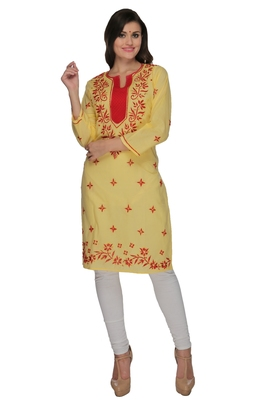 Lemon embroidered cotton stithced kurti