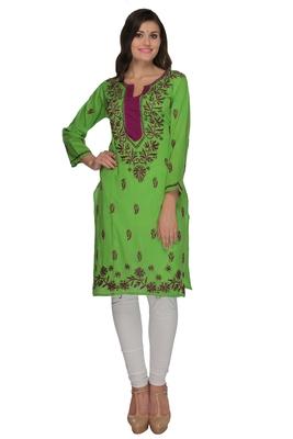 Green embroidered cotton stithced kurti