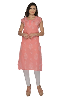 Peach embroidered cotton stithced kurti