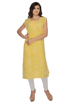 Yellow embroidered cotton stithced kurti