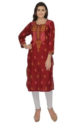 Maroon embroidered cotton stithced kurti