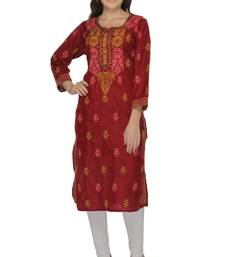 Maroon embroidered cotton stithced kurti