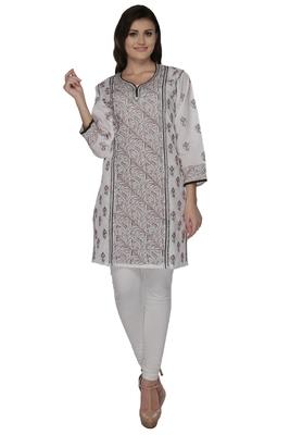 White embroidered cotton stithced kurti