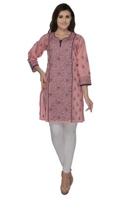 Pink embroidered cotton stithced kurti