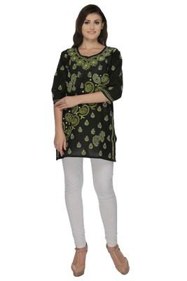 Black embroidered cotton stithced kurti