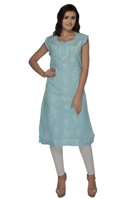 Blue embroidered cotton stithced kurti