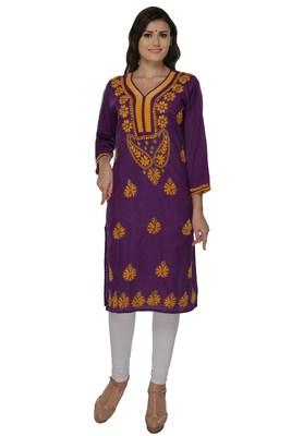 Purple embroidered cotton stithced kurti