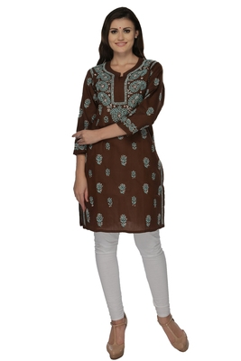 Dark brown embroidered cotton stithced kurti