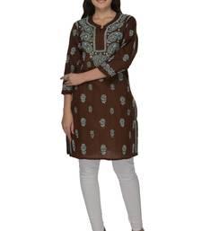 Dark brown embroidered cotton stithced kurti