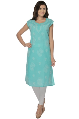 Sea green embroidered cotton stithced kurti