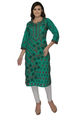 Green embroidered cotton stithced kurti