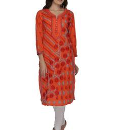 Orange embroidered cotton stithced kurti