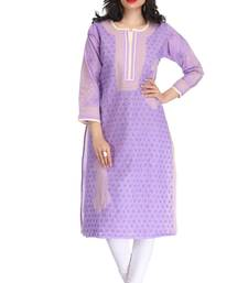 Ada Mauve embroidered cotton chikankari kurti