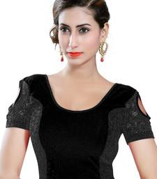 Black Lycra Solid stitched blouse