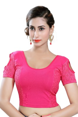Pink Lycra Solid stitched blouse
