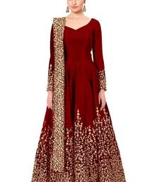 Buy Red embroidered pure art silk salwar wedding-salwar-kameez online