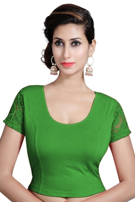 Green Lycra Solid stitched blouse