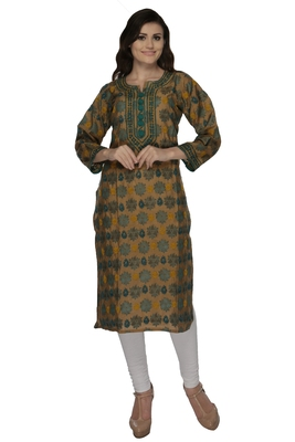 Green embroidered chanderi kurtas-and-kurtis