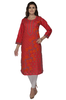 Red embroidered cotton kurtas-and-kurtis