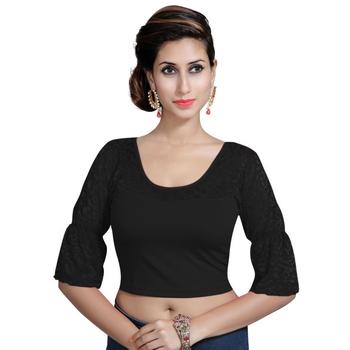Black Lycra Solid stitched blouse