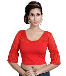 Red Lycra Solid stitched blouse