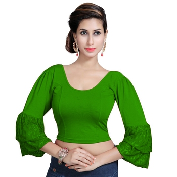 Bottle Green Lycra Solid stitched blouse
