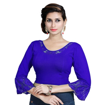 Royal Blue Lycra Solid stitched blouse