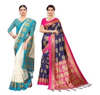 Multicolour printed Mysore art silk saree pack of-2 saree with blouse