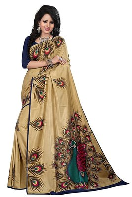 Golden printed art silk saree with blouse