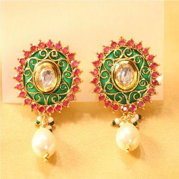 Beautiful kundan pearl studs