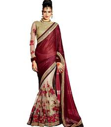 Buy Maroon embroidered   lycra saree with blouse designer-embroidered-saree online